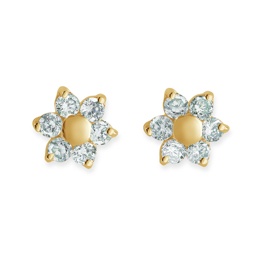 Screw-back stud flower earrings for children set with white cubic zirconia - in 14K yellow gold