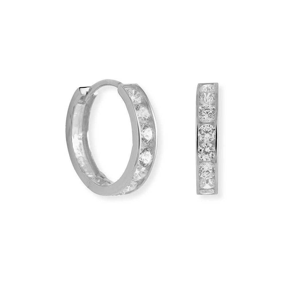 Boucles d'oreilles anneaux sertis de zircons cubiques - en or blanc 10K