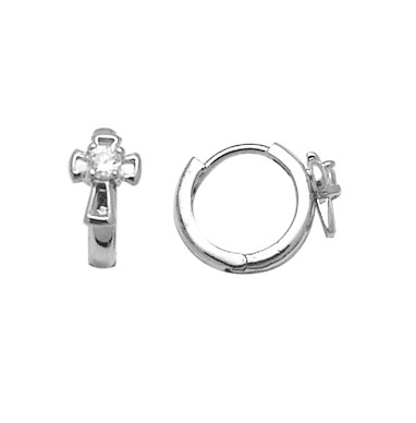 Sterling silver cross huggies style earrings for children set with cubic zirconia