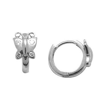 Boucles d'oreilles papillons de genre huggies en argent sterling pour enfants serties de zircons cubiques