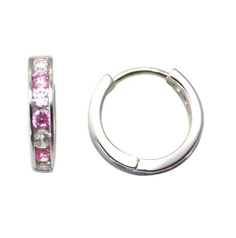Boucles d'oreilles huggies pour femme - Argent sterling & Zircons cubiques (blancs et roses)