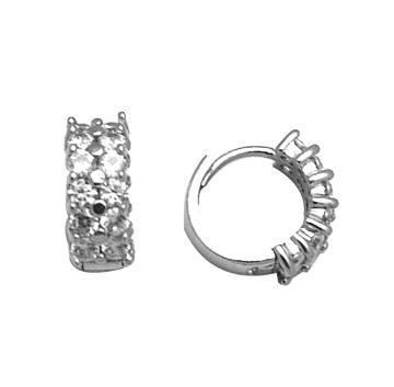 Boucles d'oreilles de genre huggies en argent sterling serties de zircons cubiques