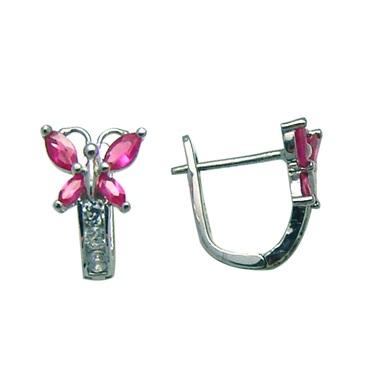 Boucles d'oreilles papillons en argent sterling serties de zircons cubiques blancs/rouge-rosé