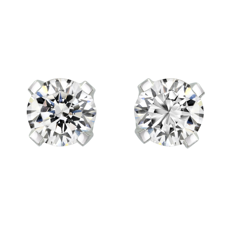 Boucles d'oreilles à tiges vissées -Or blanc 14K & Diamants 2 X 0.05 Carat