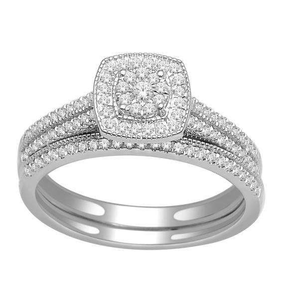 Engagement ring and wedding band set - 10K white Gold & Diamonds 0.33 Carat T.W.