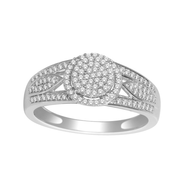 Cocktail ring - 10K white Gold & Diamonds 0.33 Carat T.W.