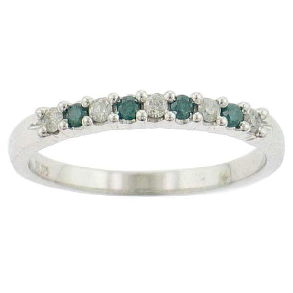 Jonc semi-éternité - Or blanc 10K & Diamants bleus et blancs totalisant 0.25 Carat