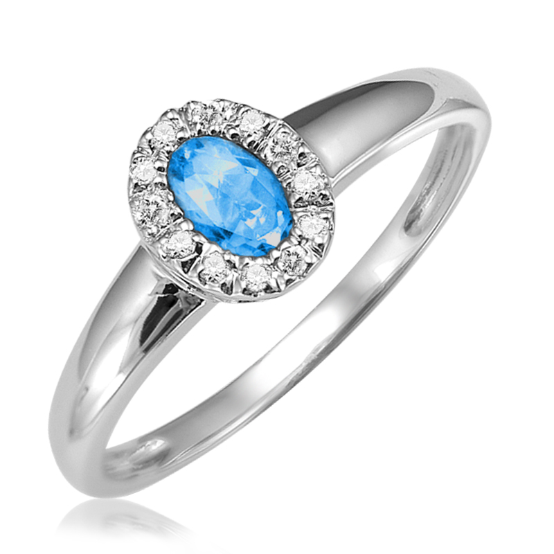 Ring for woman - 10K white gold with diamonds & Blue topaz
