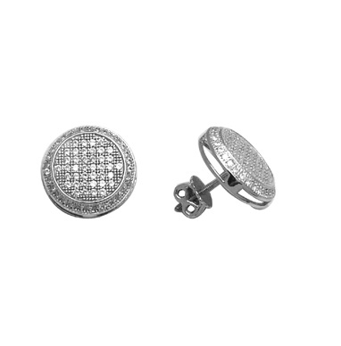 Round sterling silver earrings with cubic zirconia