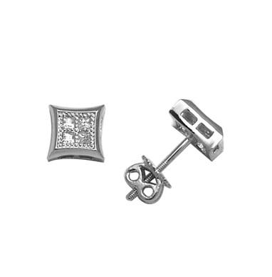Boucles d'oreilles carrés en argent sterling serties de zircons cubiques et à tiges vissées