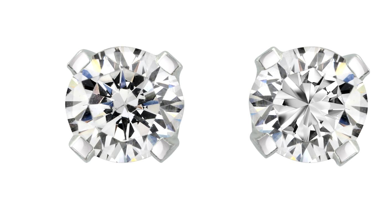 Boucles d'oreilles à tiges vissées - Or blanc 14K & Diamants 2 X 0.10 Carat
