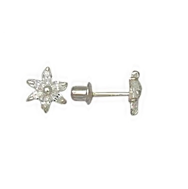 Boucles d'oreilles fleurs en argent sterling serties de zircons cubiques pour enfants et à tiges vissées