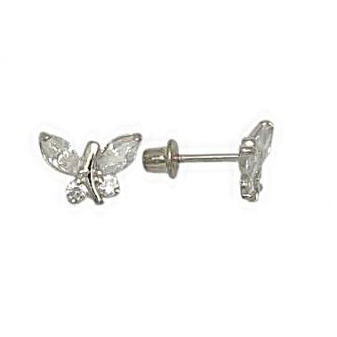 Boucles d'oreilles papillons en argent sterling serties de zircons cubiques pour enfants et à tiges vissées
