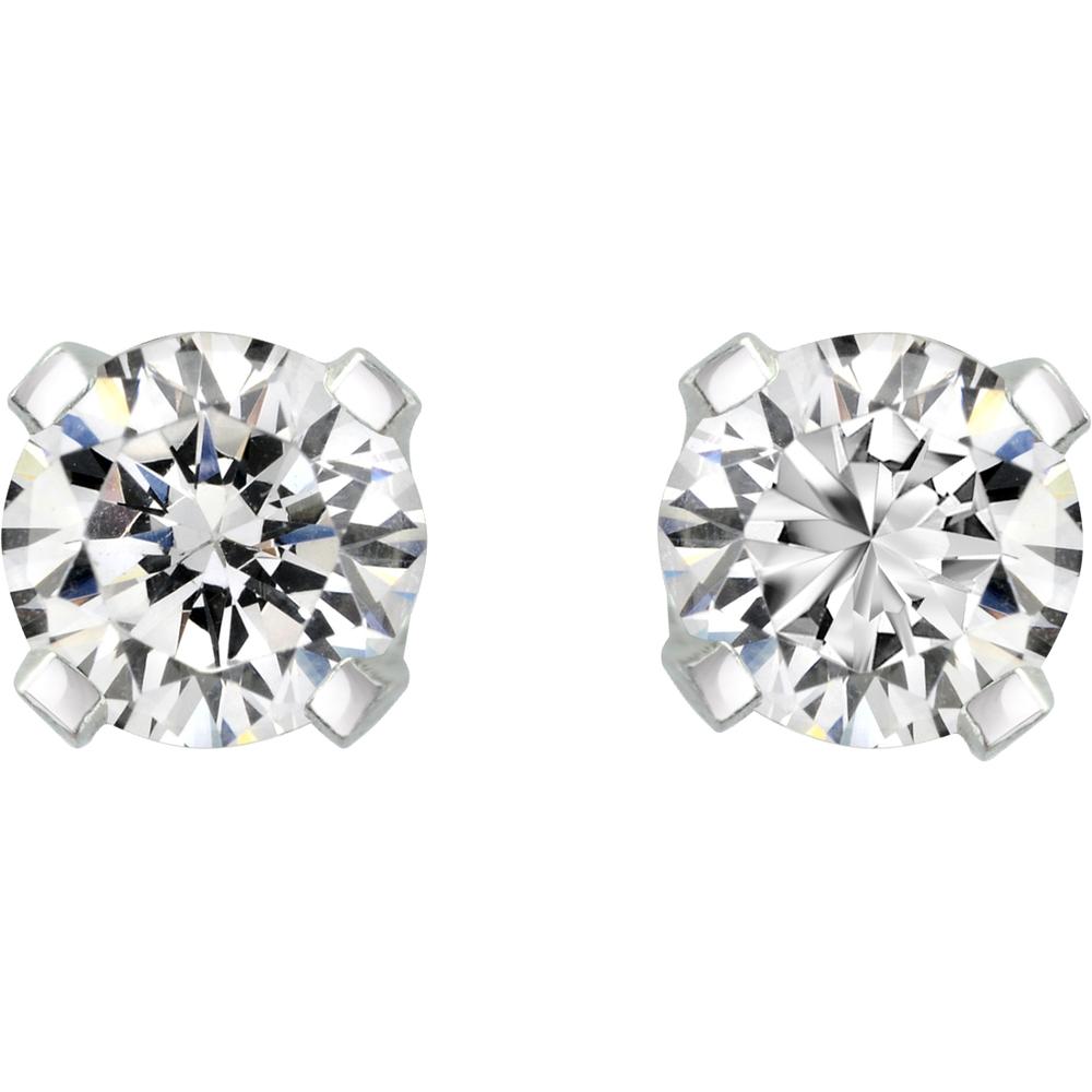 Screw back stud earrings - 14K white Gold & Diamonds 2 X 0.12.5
