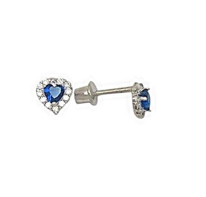 Boucles d'oreilles coeurs en argent sterling serties de zircons cubiques blancs/bleu-marin pour enfants et à tiges vissées