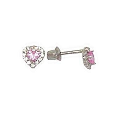 Boucles d'oreilles coeurs en argent sterling serties de zircons cubiques blancs/roses pour enfants et à tiges vissées