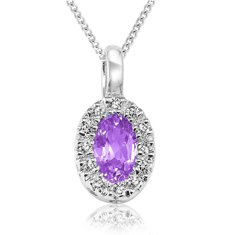 Pendant for woman - 10K white gold with amethyst & diamonds