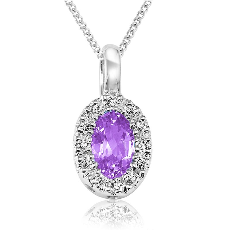 Pendentif pour femme - Or blanc 10K avec améthyste & diamants