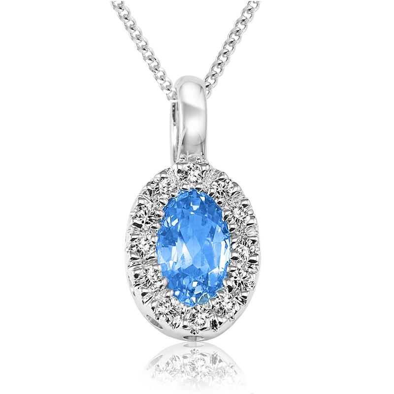 Pendentif pour femme - Or blanc 10K avec topaze bleue & diamants
