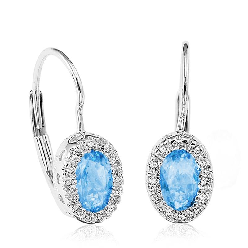 Boucles d'oreilles pendantes - Or blanc 10K& Diamants totalisant 0.10 Carat& Topazes bleues véritables