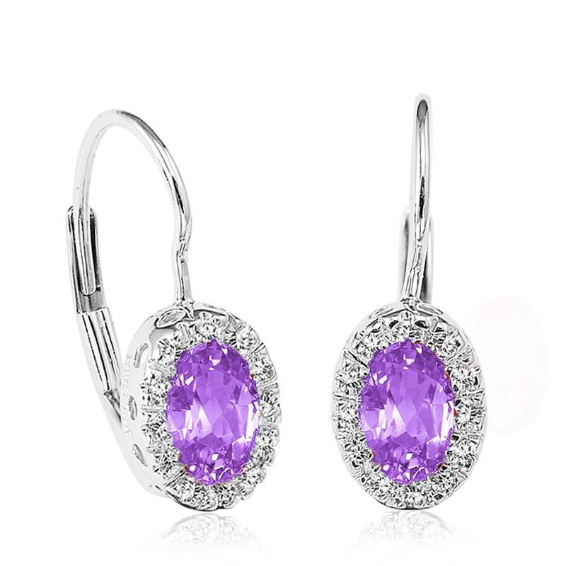 Boucles d'oreilles pendantes pour femmes - Or blanc 10K & Diamants totalisant 0.10 Carat et Améthystes