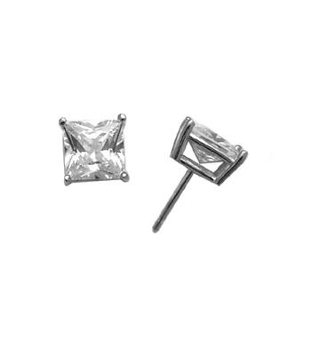 Boucles d'oreilles de 7mm en argent sterling à tiges fixes serties de zircons cubiques
