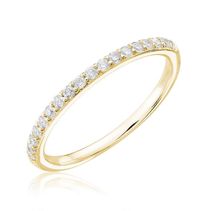 Women's band - 14K yellow Gold & Diamonds 0.15 Carat T.W.
