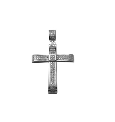 Cross pendant set with cubic zirconia - Sterling silver