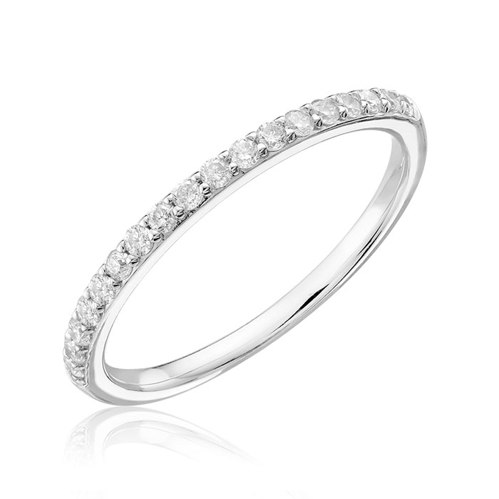 Half-eternity band for woman - 14K white Gold & Diamonds