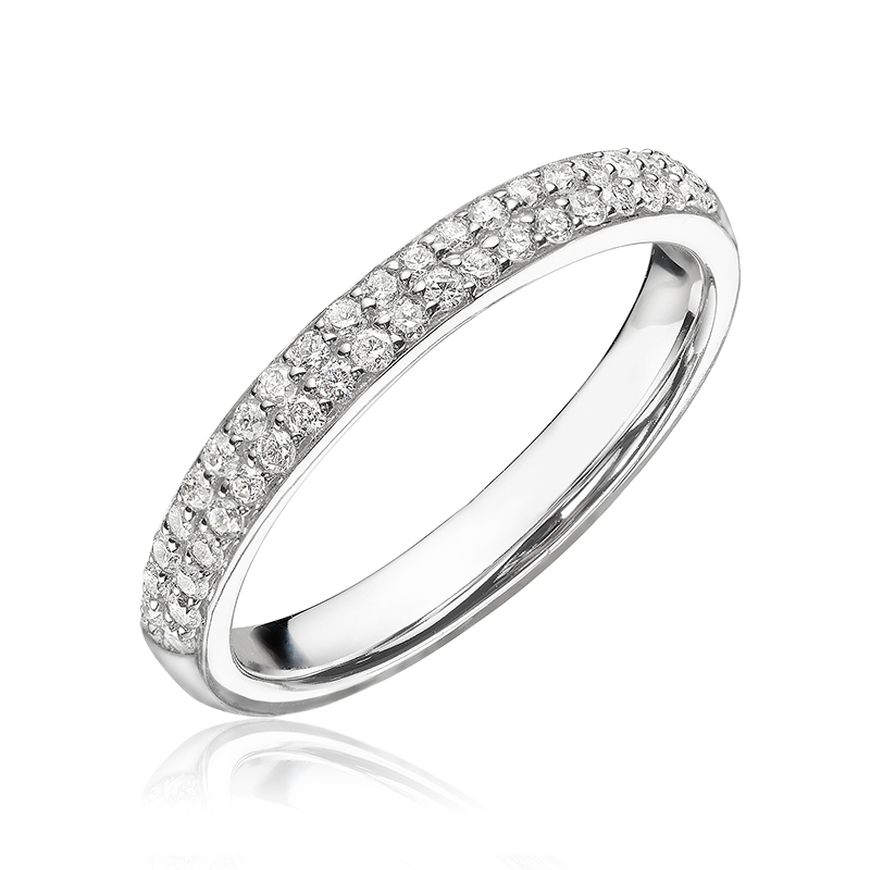 Half-eternity ring for woman - 14K white Gold & Diamonds