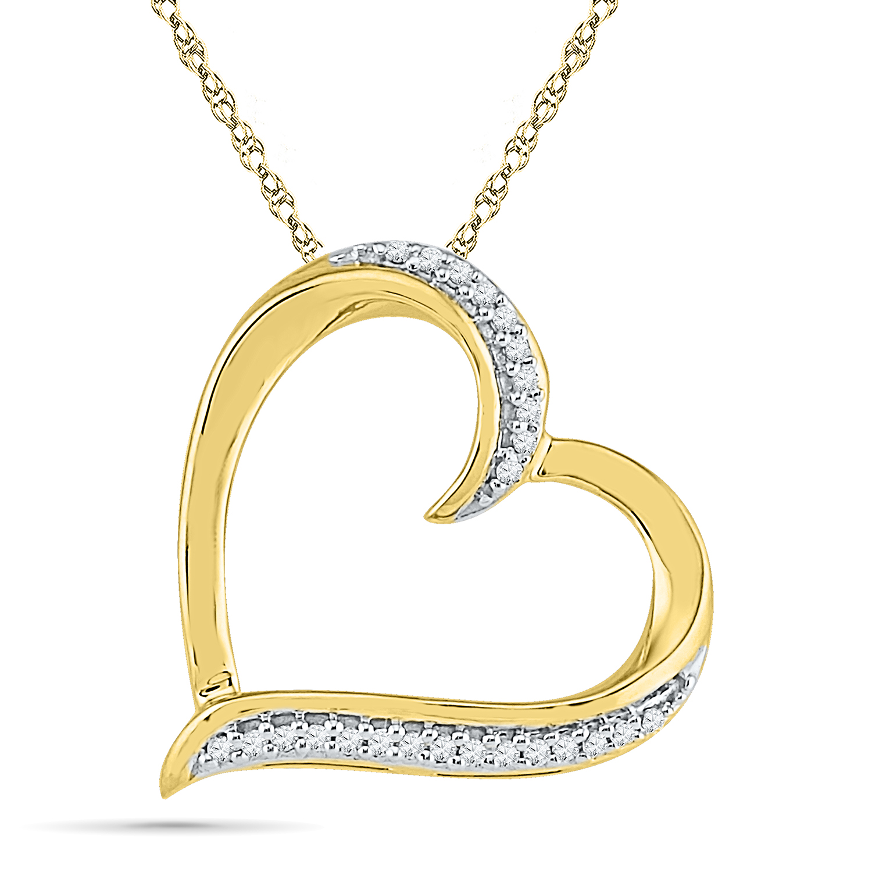 Pendentif coeur sertis de diamants totalisant 0.05 Carats - en or jaune 10K - Chaîne incluse