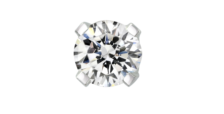 Demi-Paire de Boucles d'oreille à tige vissée - Or blanc 14K & Diamantde 0.05 Carat
