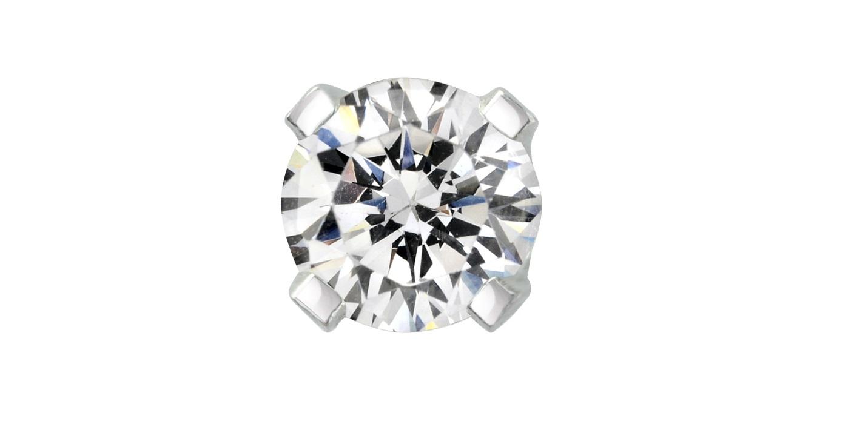 Half-Pair screw back stud earring - 14K white Gold & Diamond 0.05 Carat T.W