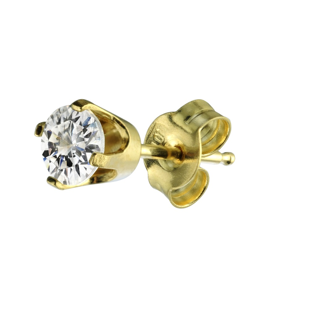 (HALF-PAIR)Stud earring with cubic zirconia 0.15 Carats (HALF-PAIR)- 14K yellow Gold