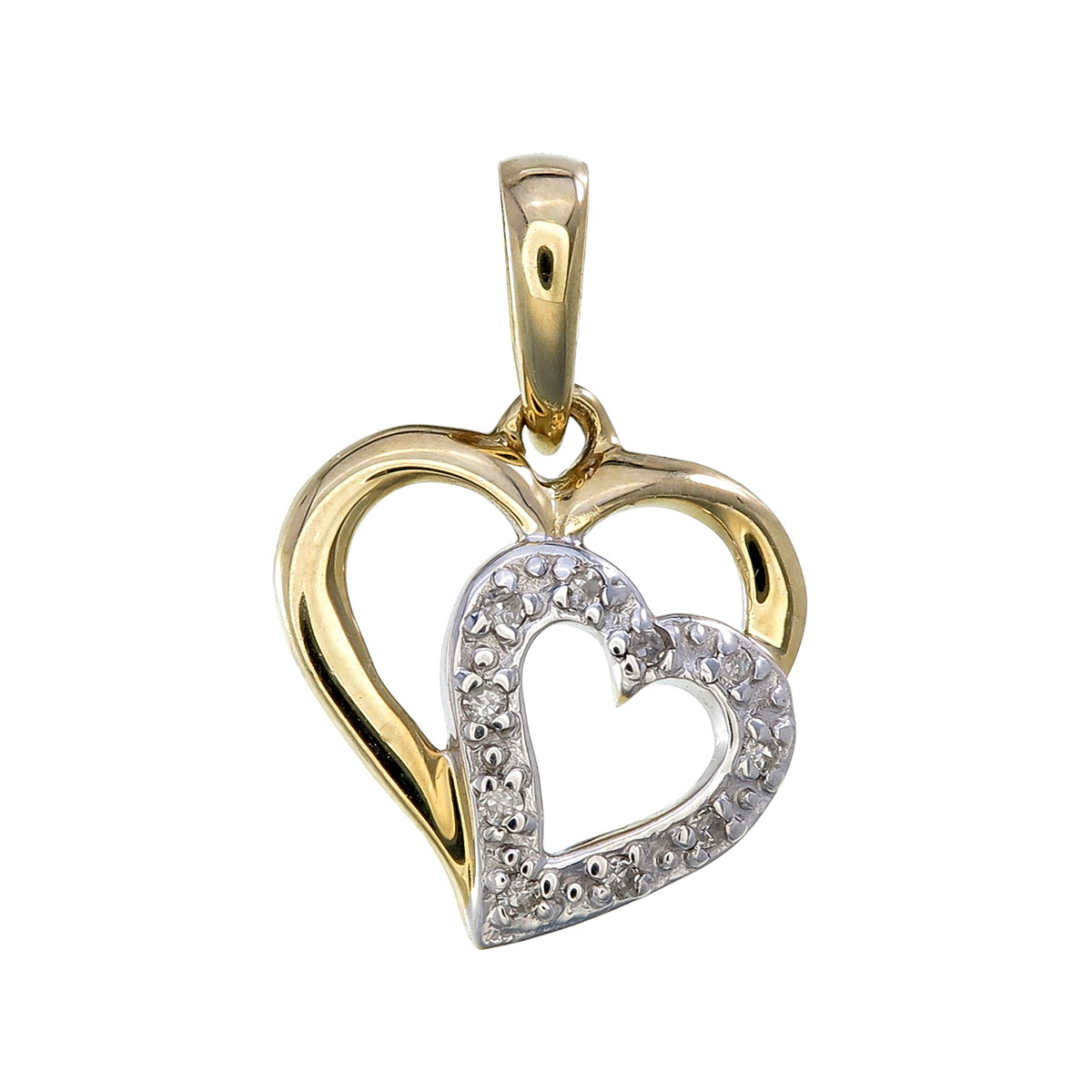 Heart pendant set with diamonds 0.03 Carats T.W. - in 10K yellow gold