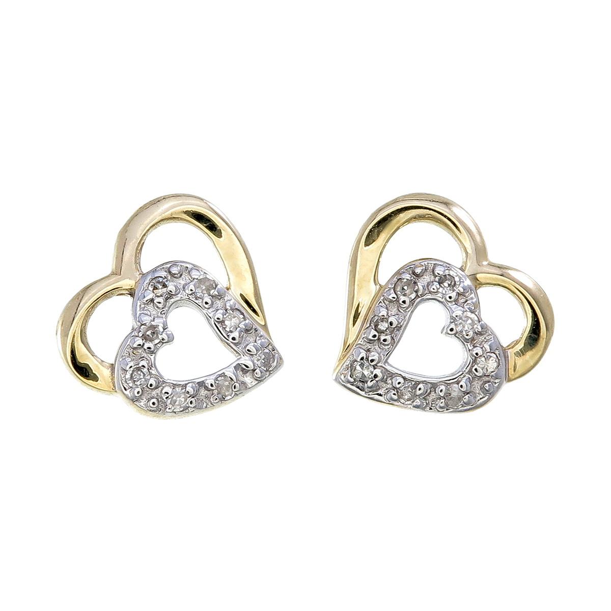 Boucles d'oreilles coeurs à tiges fixes - Or jaune 10K & Diamants totalisant 0.05 Carat