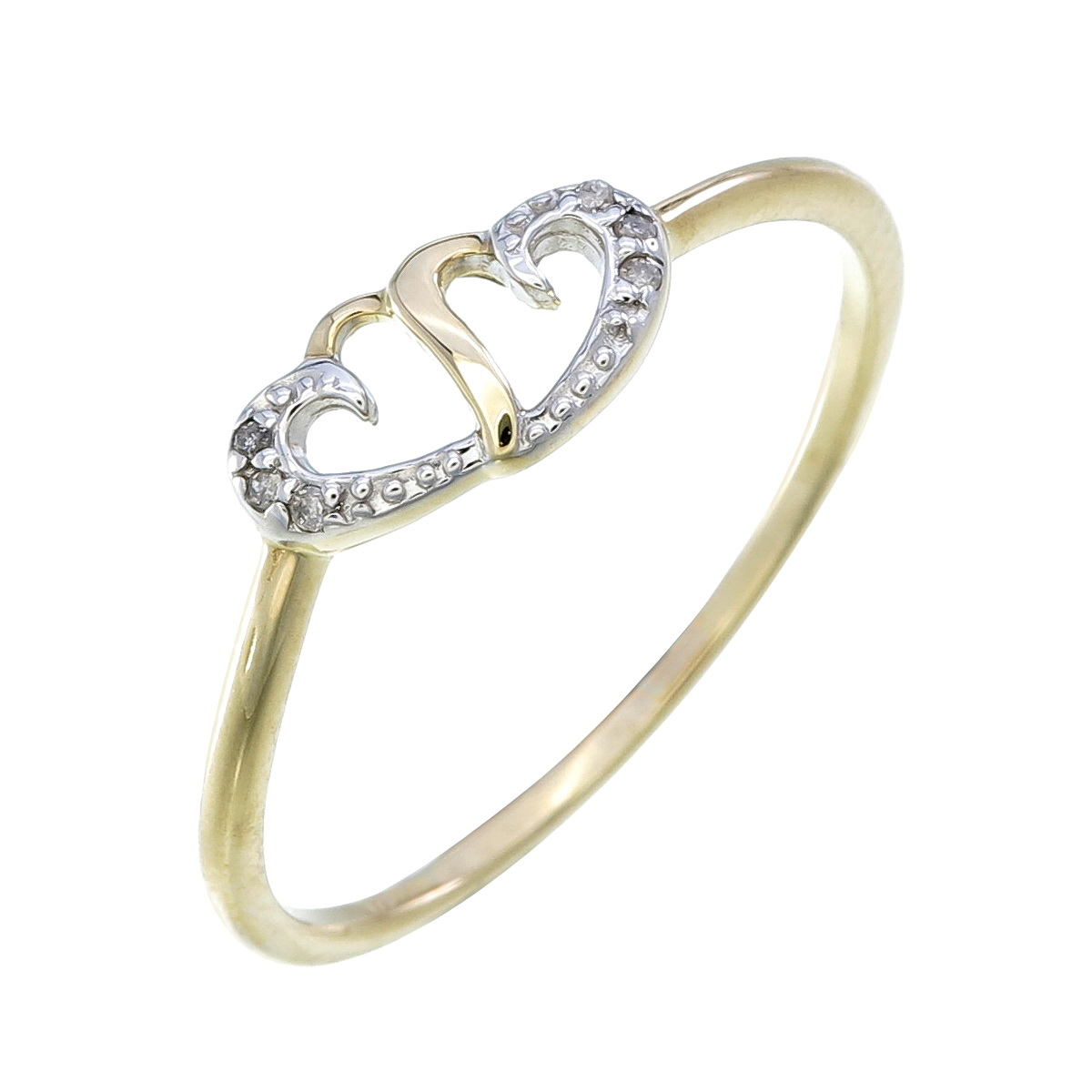 Heart ring set with with diamonds 0.02 Carats T.W. - in 10K yellow gold