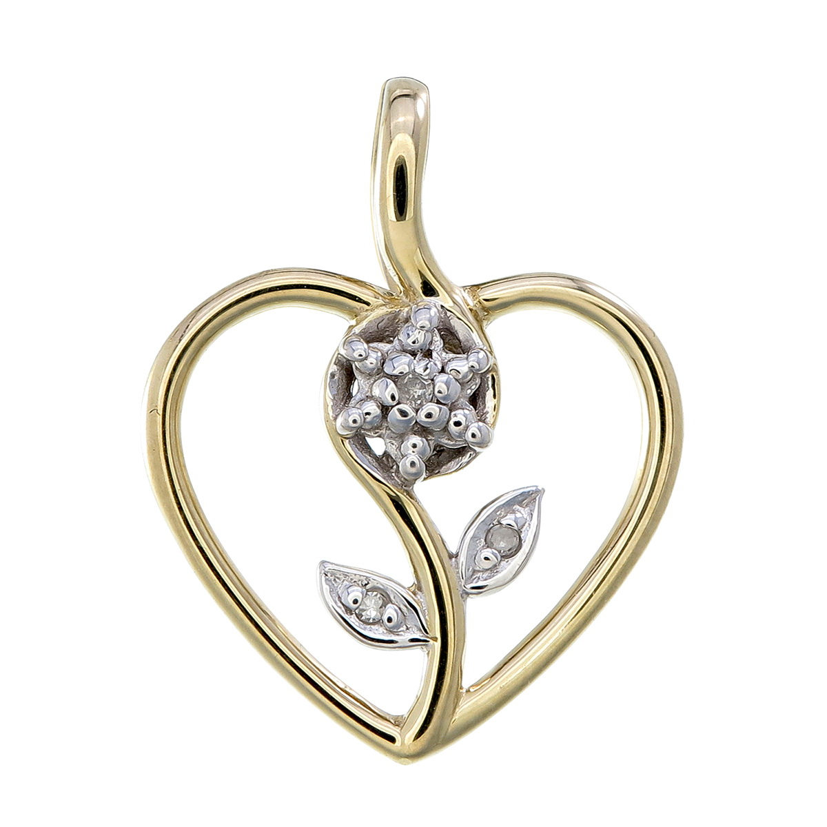 Flower in heart pendant in 10K yellow gold set with a touch of diamond