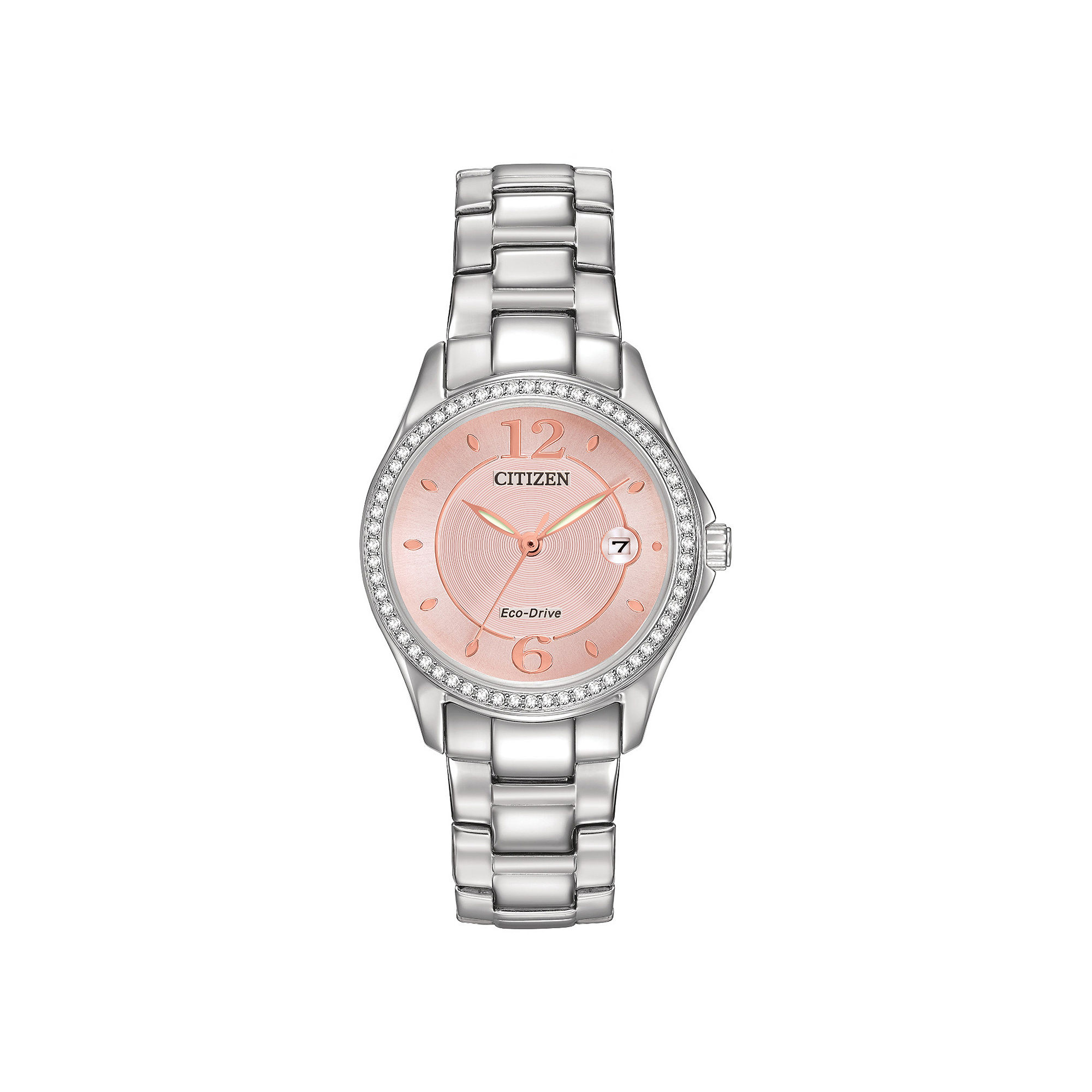 Eco-Drive watch for women - Pink dial with mineral crystal