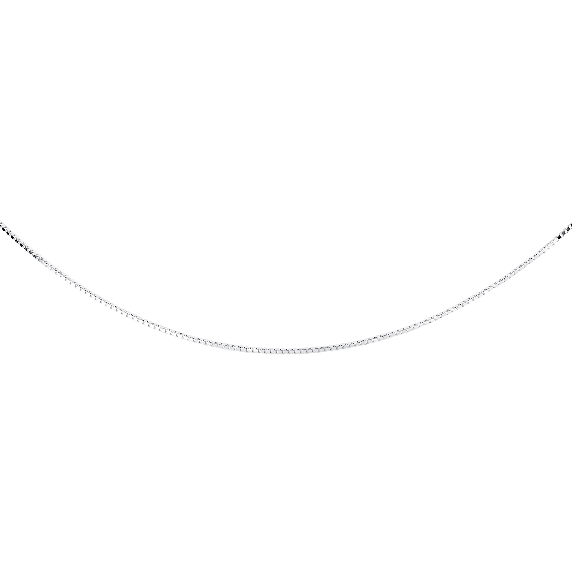 14''  box chain for children - Sterling silver & rhodium plated finish