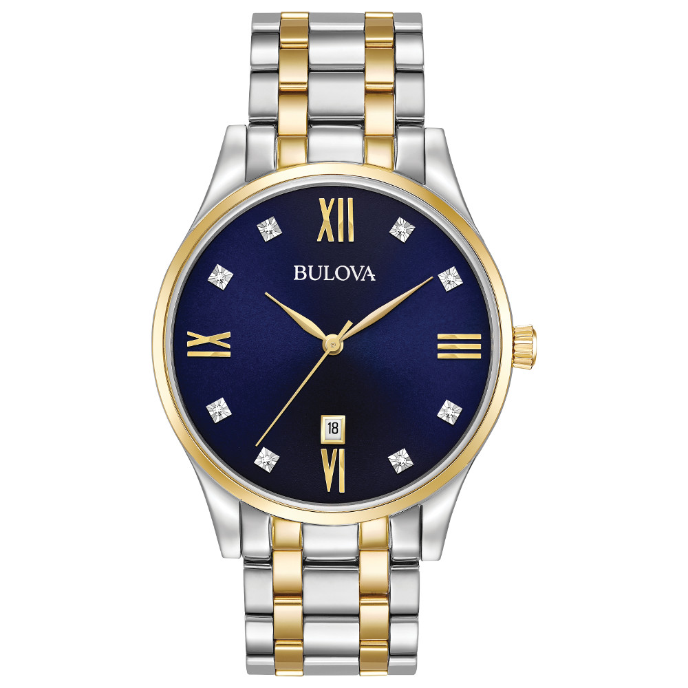 watch with quartz movement for men - 8 diamonds accented blue dial with mineral crystal