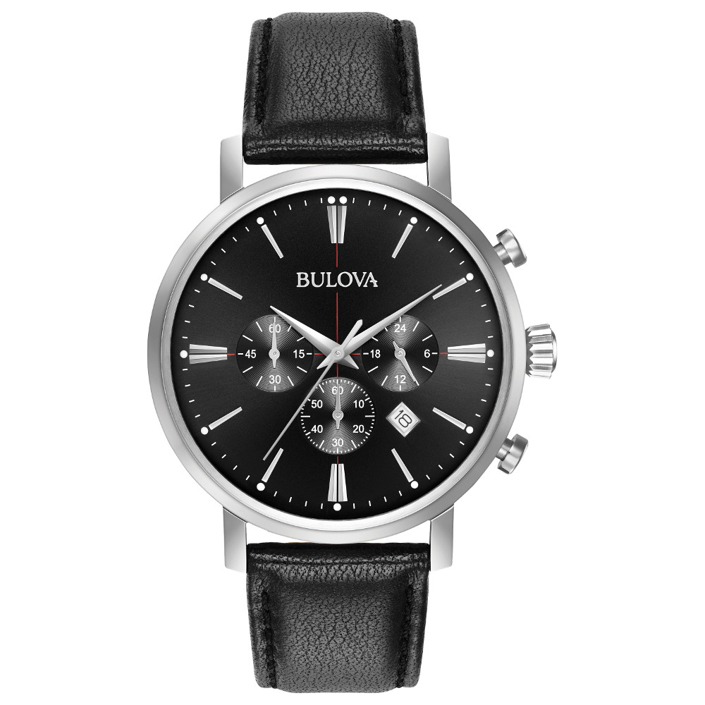 watch with quartz movement for men - Black dial with mineral crystal & Leather band