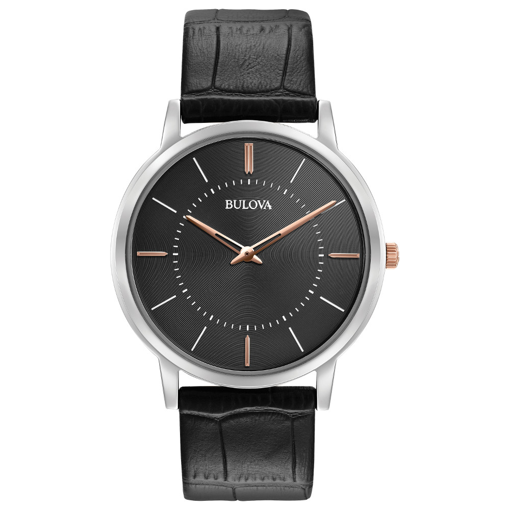 watch for men -  Dark grey dial with mineral crystal and quartz movement - Leather band