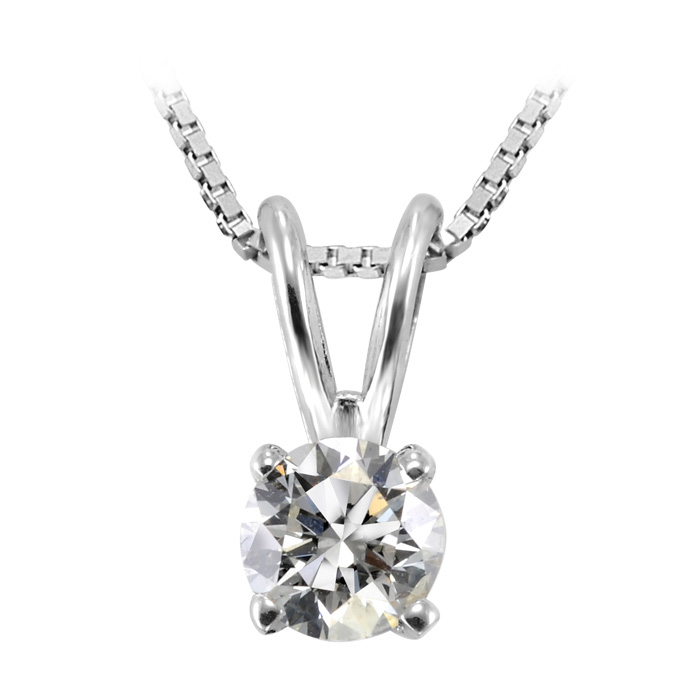 Solitaire diamond pendant 0.10 Carat T.W. - 14K white Gold