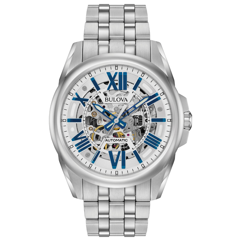 automatic watch for men - Skeletonized dial accented with blue details