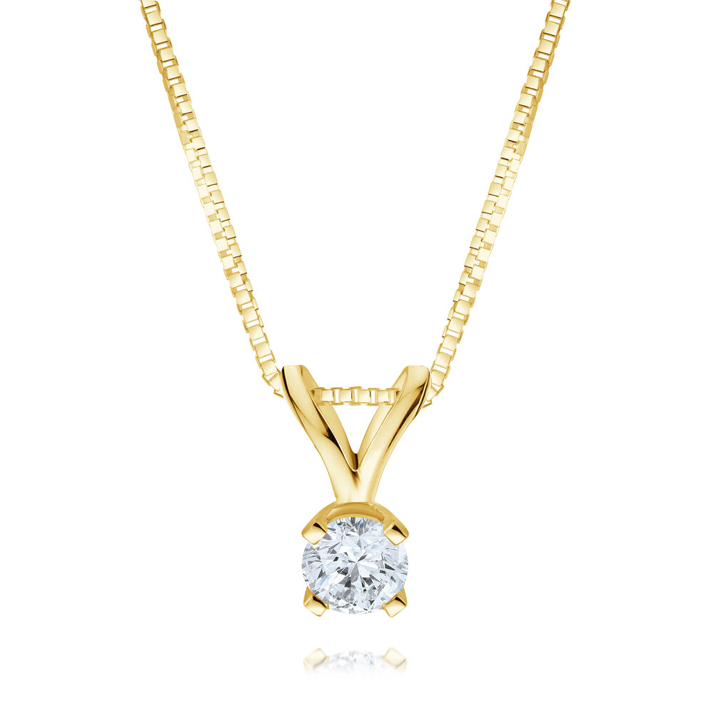 Solitaire diamond pendant 0.20 Carat T.W. - 14K 2-tone Gold (yellow and white)
