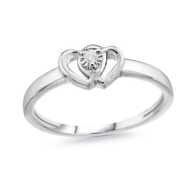 taille 40 011b9 45e8b Bague Coeur pour femme - Argent sterling & diamant . Color: argent   Doucet  Latendresse
