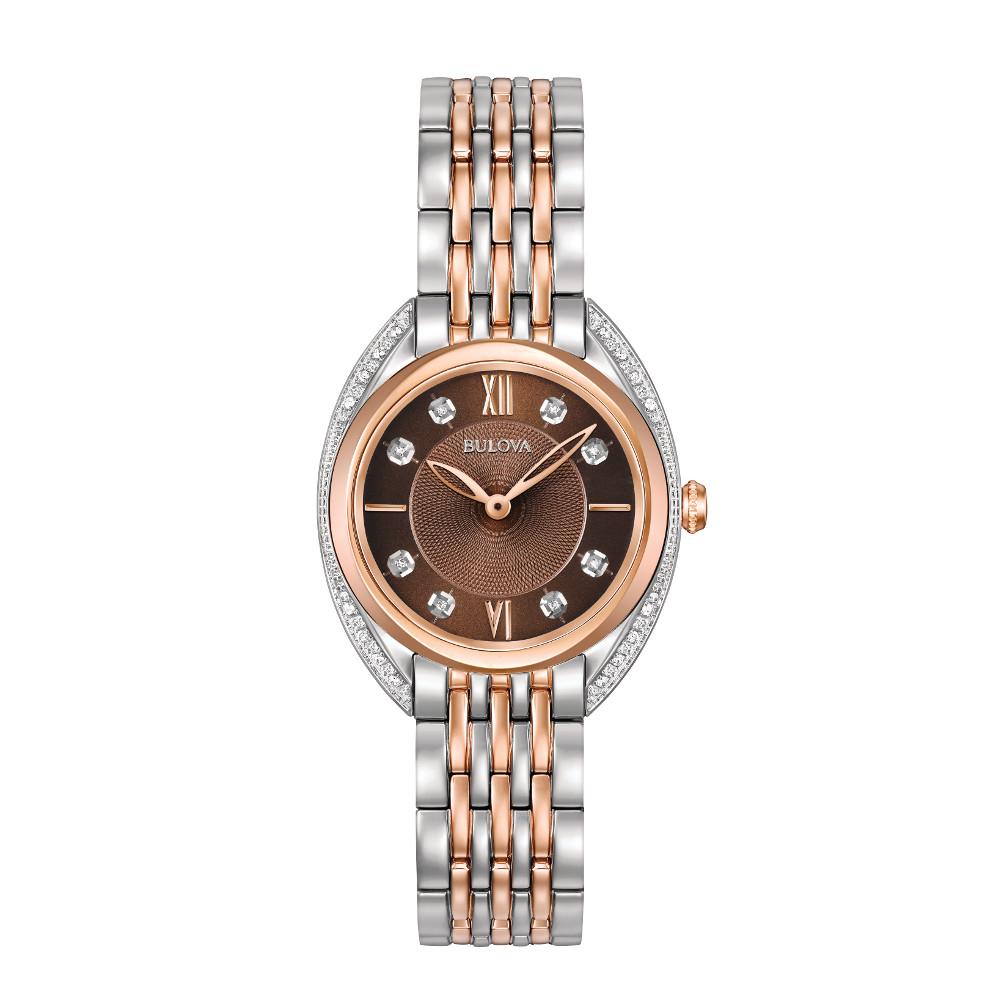 Montre Bulova à quartz pour femmes - Cadran brun à motif avec verre de saphir & Diamants