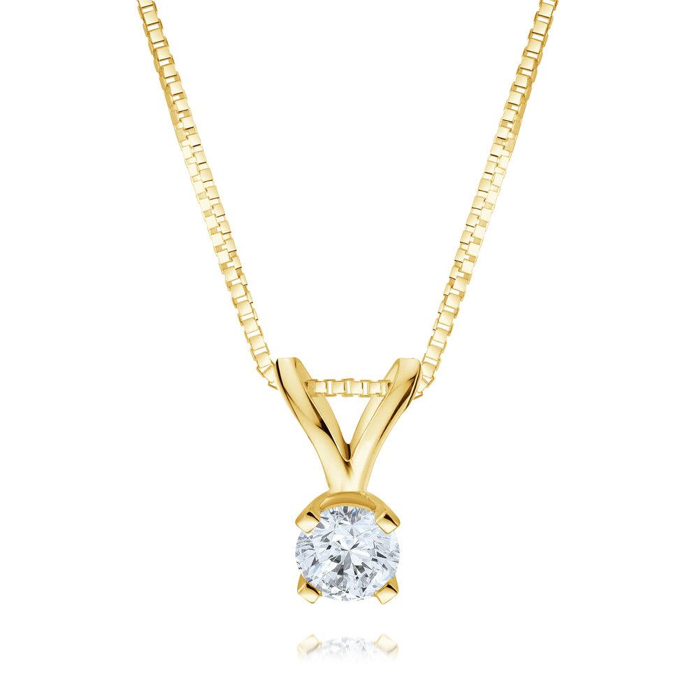 Pendentif sertis d'un diamant solitaire de 0.25  en Or 2-tons 14K (jaune et blanc) - Chaine en Or jaune 10K incluse