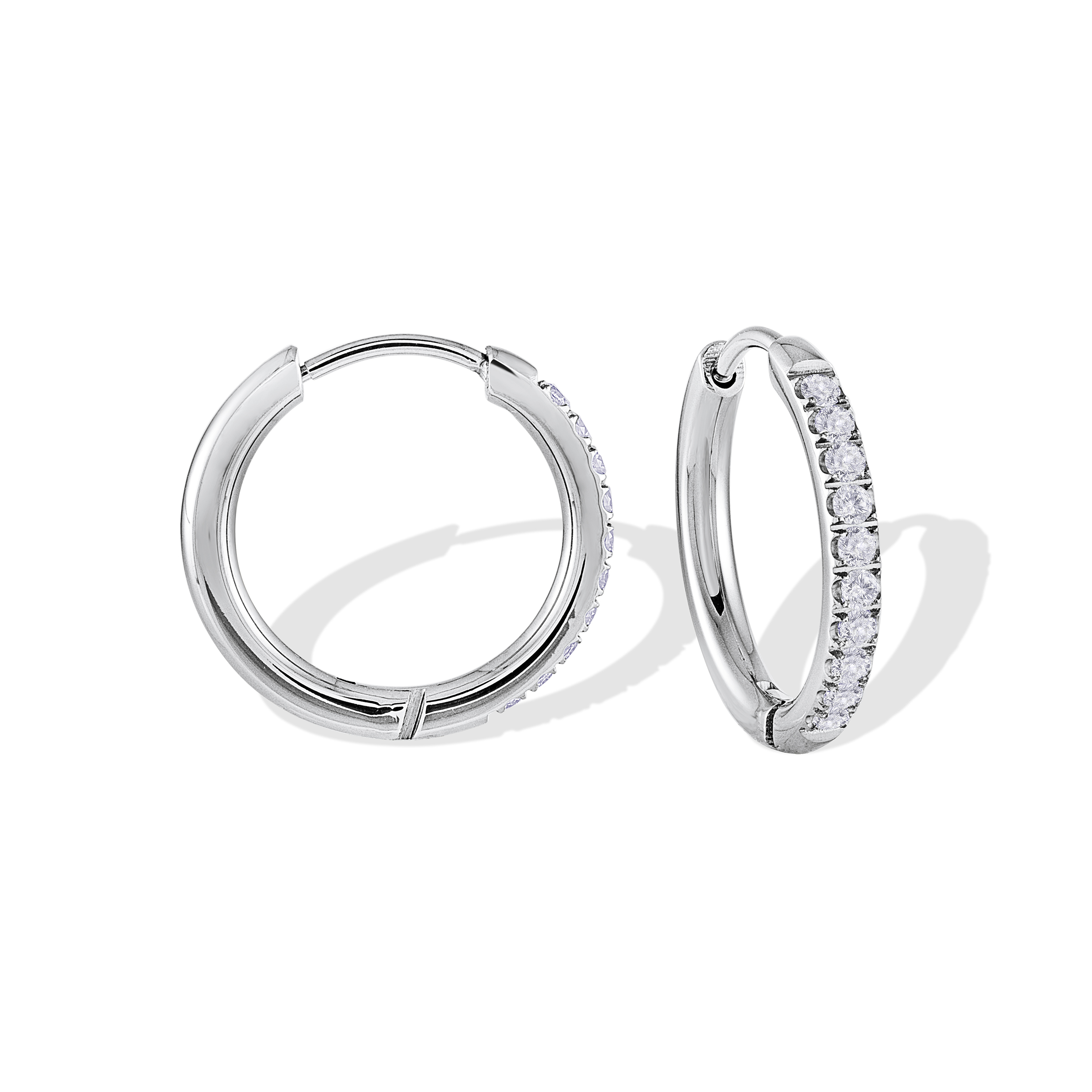 Hoop earrings - Stainless steel & cubic zirconia